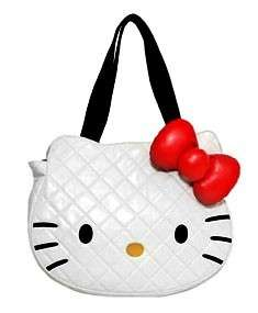 HELLO KITTY BY LOUNGEFLY WHITE QUILTED FACE TOTE BAG