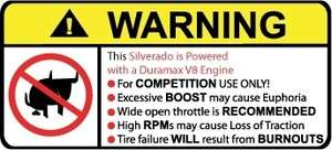 Silverado Duramax v8 Engine No Bull warning sticker