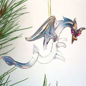 Dragon Christmas Ornament Figurine Hand Blown Glass