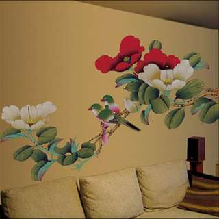 Flowers Painting Adhesive Removable Wall Decor Accents Fabric Stickers