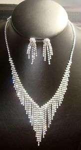SetsBridal Prom Crystal Rhinestone Necklace Earrings