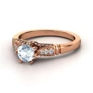 Elizabeth Ring, Round Aquamarine 14K Rose Gold Ring with