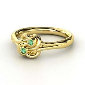 Lovers Knot Ring, 14K Yellow Gold Ring with Emerald Jewelry