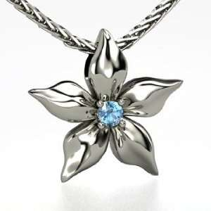 Star Flower Pendant, Round Blue Topaz 14K White Gold Necklace Jewelry