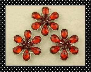 Beads #3 Happy Flowers Made w/ Red Siam Swarovski Crystal Elements