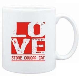 Mug White  LOVE Stone Cougar  Cats