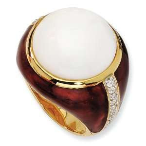 Gold plated Sterling Silver Brn Enam Simulated Wht Agate and CZ Ring