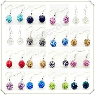HOT SALE 10MM SWAROVSKI CRYSTAL PAVE DISCO BALL BEADS 15 COLOR SILVER