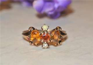 Etruscan VICTORIAN 14K ROSE GOLD Garnet Topaz Seed Pearl RING Antique