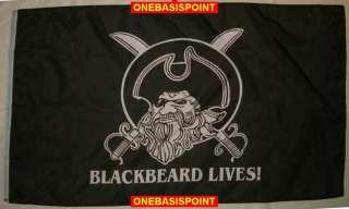 x5 BLACKBEARD LIVES PIRATE JOLLY ROGER FLAG HUGE 3X5