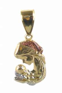 18K Gold Filled Trio Tone Mother & Child Pendant 5cm