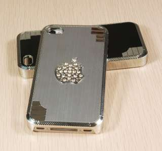 4ColorsDiamond Bling Glitter Case Skin Chrome w/Apple Logo For iPhone