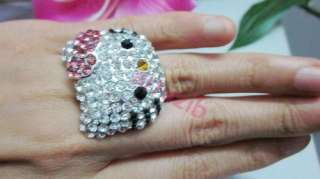hello Kitty crystal bling pink bowknot ring xmas R5 for gift