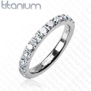 Solid Titanium Wedding Ring CZ Stones Size 5,6,7,8 (f27)