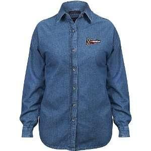 09 NASCAR Day Ladies Long Sleeve Denim Shirt Sports