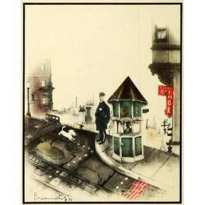 1933 Print San Francisco Police Officer Cable Car Art