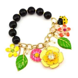 Original Betsey Johnson Secret Garden Flower Charm Bracelet