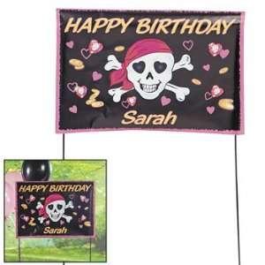 Personalized Pink Pirae Girl Yard Sign   Pary Decoraions & Yard