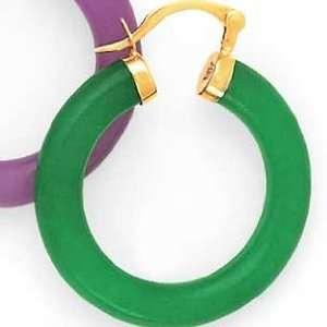 14k Yellow Gold Green Jade Hoop Earrings Jewelry