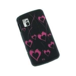 Mybat Black And Hot Pink Cherry Hearts Laser Cut Silicone Design Skin