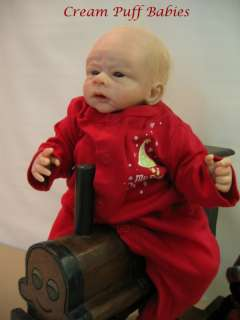REBORN NEWBORN BABY BOY DOLL BY JACQUELINE GWIN & CREAM PUFF BABIES