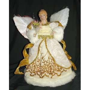 12 Animated Fiber Optic Ivory Angel Christmas Tree Topper