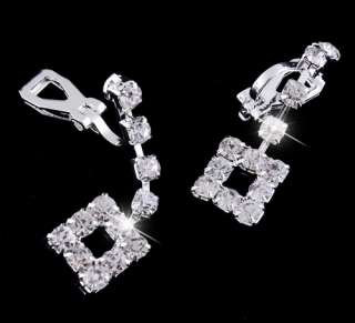 rhinestone necklace earrings wedding party jewelry silver plate #22834
