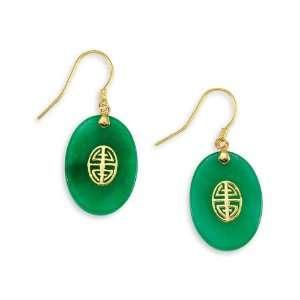 14k Yellow Gold Green Jade Good Luck Earrings Jewelry