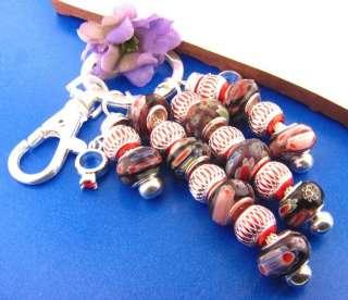 Royal Purple & Red Key Chain w/European Style Lampwork Beads