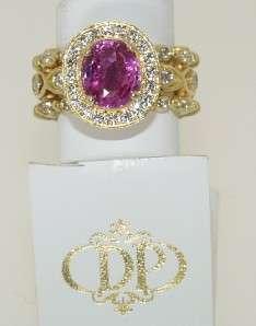 DORIS PANOS 18 KT. GOLD DIAMOND & PINK SAPPHIRE RING