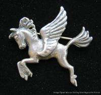 Vintage Signed Mexican Sterling Silver Pegasus Horse Pin