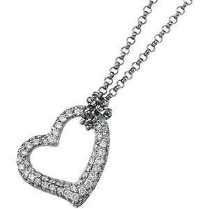 14K White Gold Diamond Heart Necklace DivaDiamonds