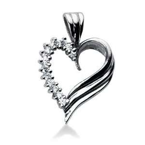 0.5 Carat Diamond 14K White Gold Heart Pendant Necklace