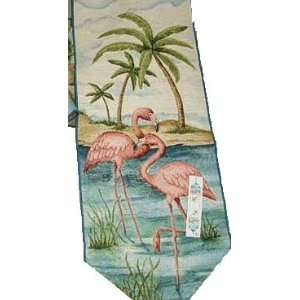 Pink Flamingo Bay Tapestry Table Runner   Tropical Home