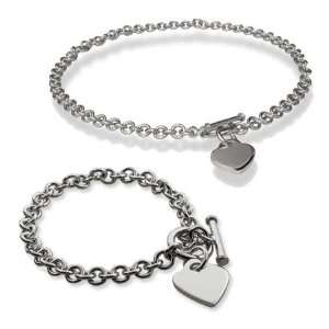 Heart Tag Bracelet & Necklace Set Length 16 inches (Lengths 16 inches