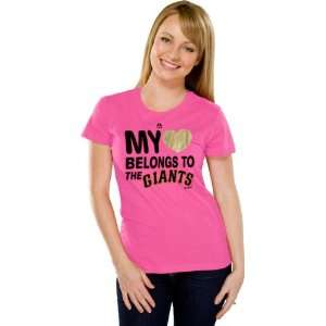 Francisco Giants Womens My Heart Pink Fashion T Shirt Sports