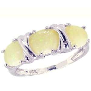 14K White Gold Hugs and Big Kisses Oval Gemstone Ring Opal