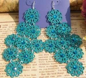 Funky Green Flower Chandelier Crystal Earrings Gift