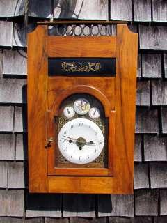 Early Continental Antique 1800s Austrian Fusee Wall Clock, Biedermeier