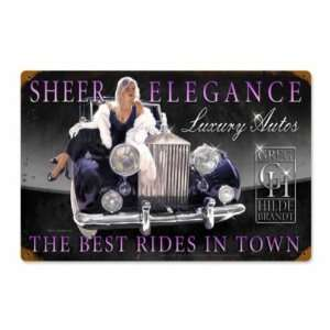 Elegance Pin Up Hot Rod Luxury Car Vintage Metal Sign: Home & Kitchen