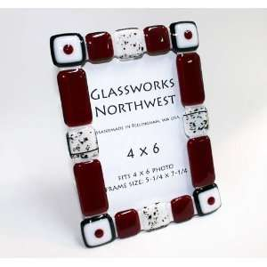Fused Glass Red, White, & Black Frame