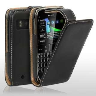 Executive Flip Leather Case For Nokia E6 + Screen Protector   Black