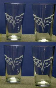 SET OF 4 ETCHED CORVETTE C6 LOGO PINT GLASSES, NICE