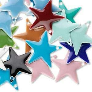 120 Assorted Color 17mm Enamel Star Drop Charms~Mix