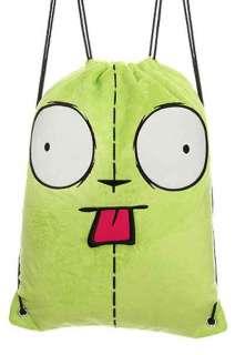 Invader Zim Gir Face Soft Plush Sling Drawstring Book Bag Cinch Back