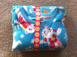 NWT CARTERS GIRLS SIZE 7 FOOTED FEET FLEECE PAJAMAS *8 STYLES MONKEYS