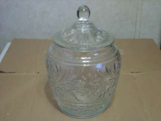 ANCHOR HOCKING CLEAR SANDWICH GLASS COOKIE JAR & LID