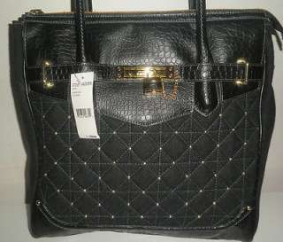 NEW STEVE MADDEN HANDBAG BLACK FAUX CROCO LEATHER STUDDED QUILTED TOTE