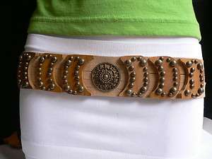 BROWN SUEDE BELT AMERICAN INDIAN WOOD ANTIQUE GOLD CHAINS 27 40 S XL