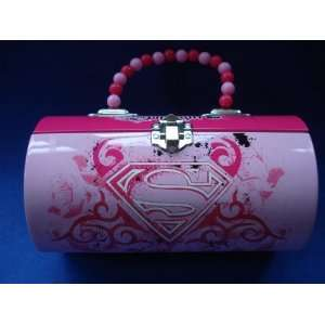 Supergirl Rollbag Style Tin Metal Handbag/Lunch Box With